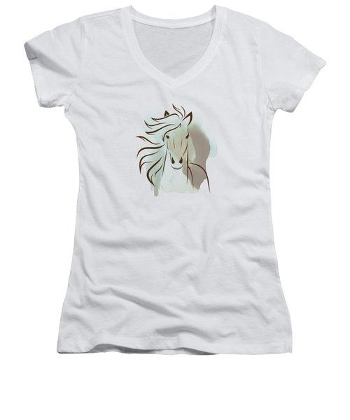 Horse Wall Art - Elegant Bright Pastel Color Animals Women's V-Neck (Athletic Fit)