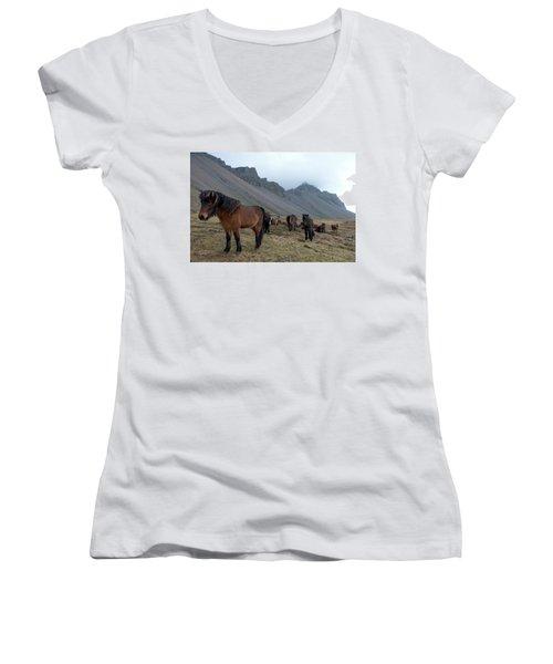 Women's V-Neck T-Shirt featuring the photograph Horses Near Vestrahorn Mountain, Iceland by Dubi Roman