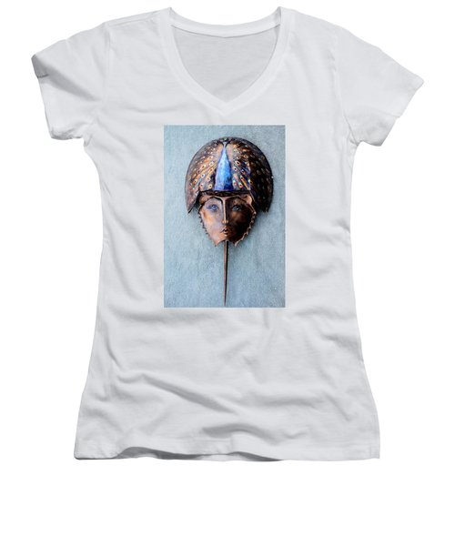 Horseshoe Crab Mask Peacock Helmet Women's V-Neck T-Shirt (Junior Cut) by Roger Swezey