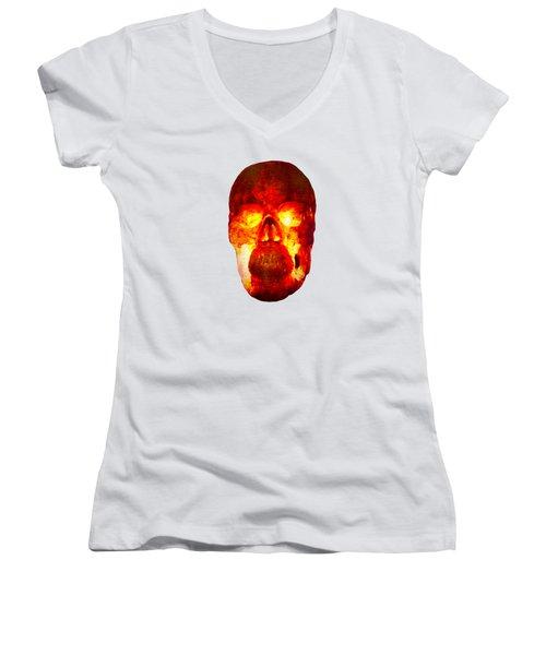 Hot Headed Skull On Transparent Background Women's V-Neck