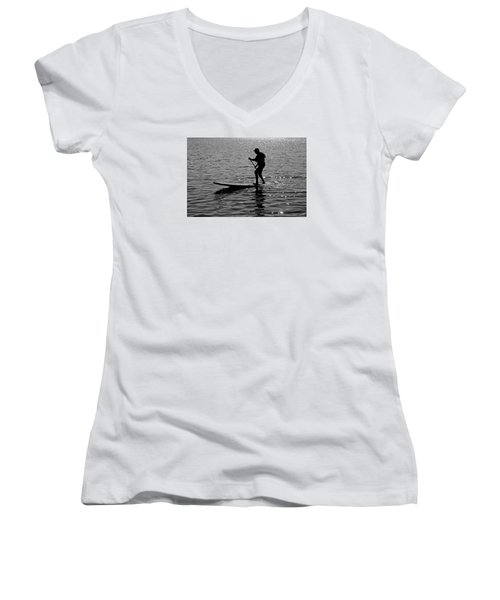 Hot Moves On A Sup Women's V-Neck T-Shirt (Junior Cut)
