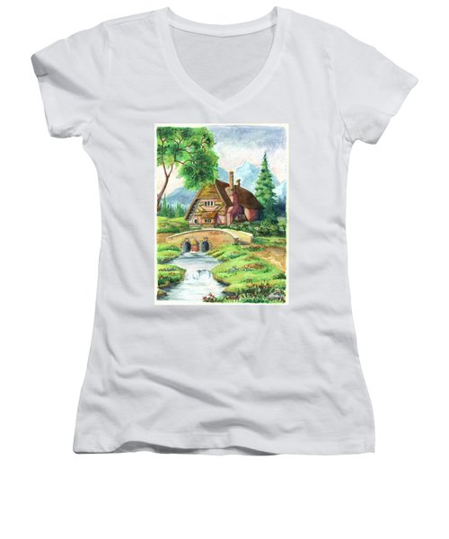 House Along The River Women's V-Neck (Athletic Fit)