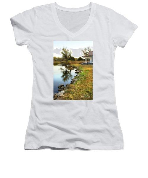 House By The Edge Of The Lake Women's V-Neck T-Shirt (Junior Cut) by Jill Battaglia