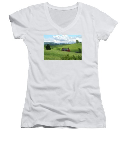House In The Hills Women's V-Neck T-Shirt (Junior Cut) by Emanuel Tanjala
