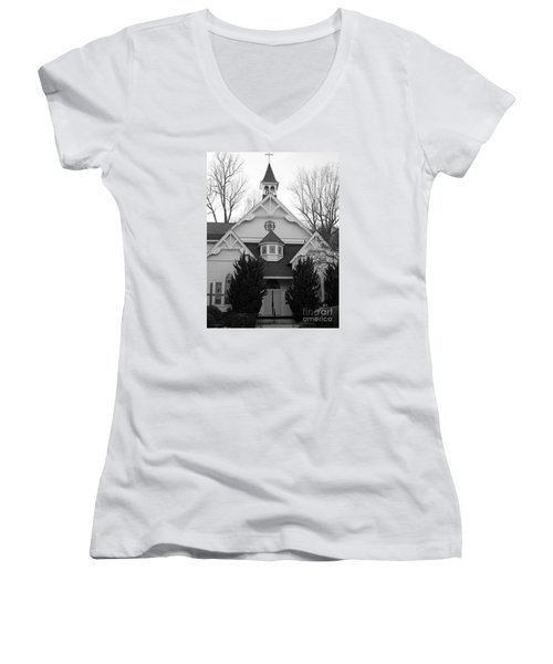 Women's V-Neck T-Shirt (Junior Cut) featuring the photograph House Of Prayer by Emmy Marie Vickers