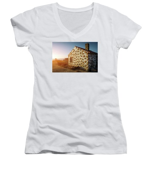 Women's V-Neck T-Shirt (Junior Cut) featuring the photograph House On The Cliff by Carlos Caetano