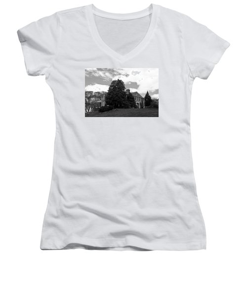 House On The Hill Women's V-Neck T-Shirt (Junior Cut) by Jose Rojas