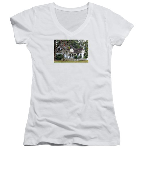 House With A Picket Fence Women's V-Neck T-Shirt (Junior Cut) by Lynn Jordan