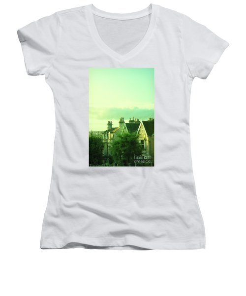 Houses Women's V-Neck T-Shirt (Junior Cut) by Jill Battaglia