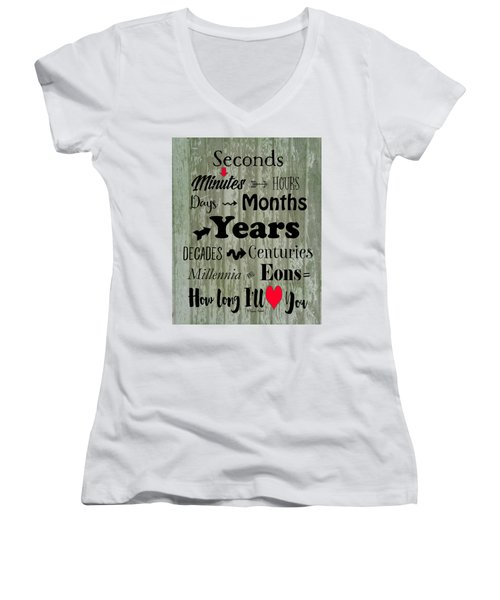 How Long I'll Love You Women's V-Neck
