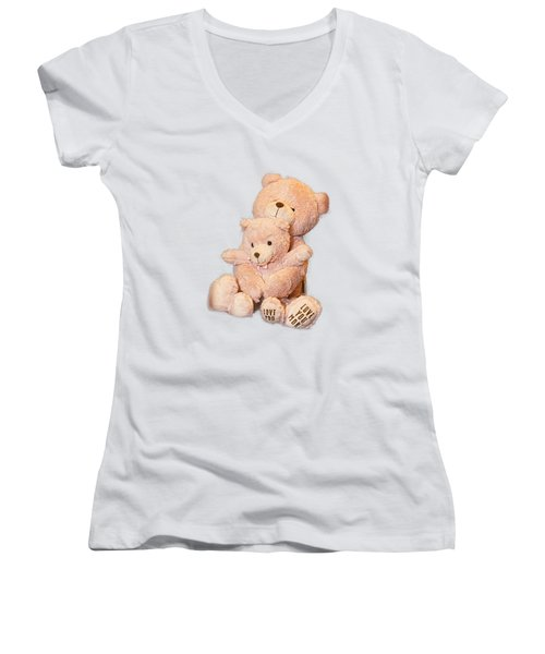 Women's V-Neck T-Shirt (Junior Cut) featuring the photograph Hugging Bears Cut Out by Linda Phelps