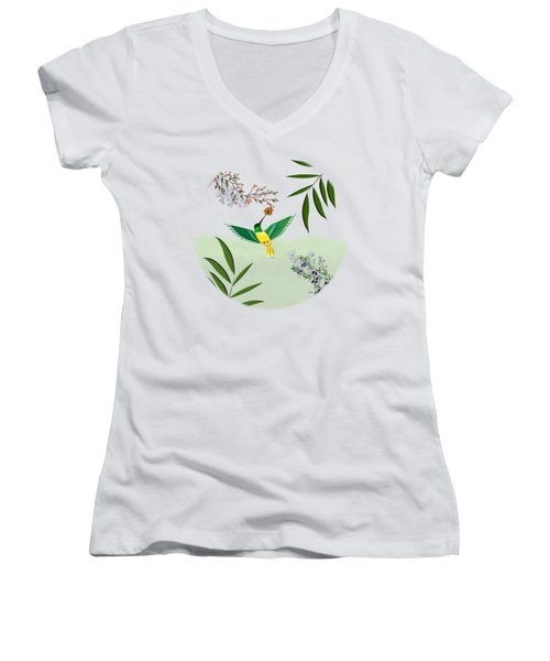 Humming Bird - Circle/clear Background Women's V-Neck