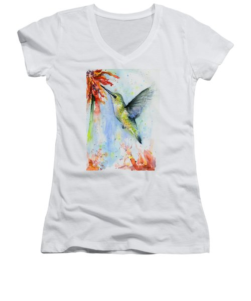 Hummingbird And Red Flower Watercolor Women's V-Neck (Athletic Fit)