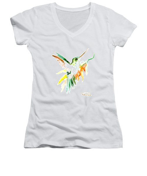 Hummingbird Green Orange Red Women's V-Neck T-Shirt