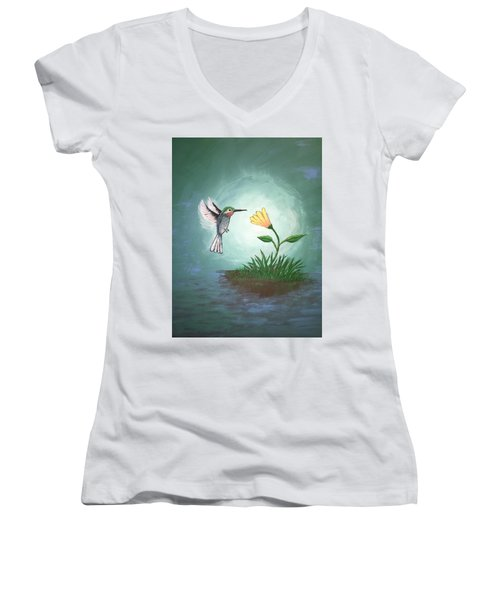 Women's V-Neck T-Shirt (Junior Cut) featuring the painting Hummingbird II by Antonio Romero