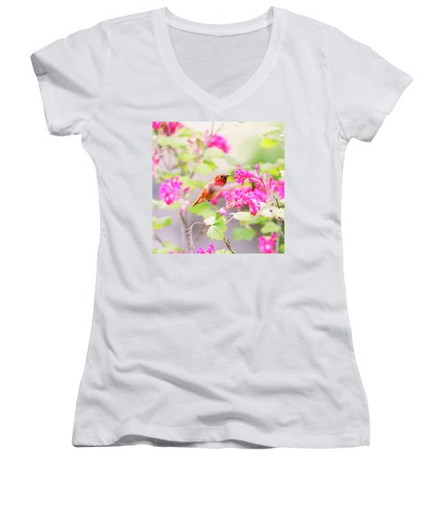 Hummingbird In Spring Women's V-Neck T-Shirt (Junior Cut) by Peggy Collins