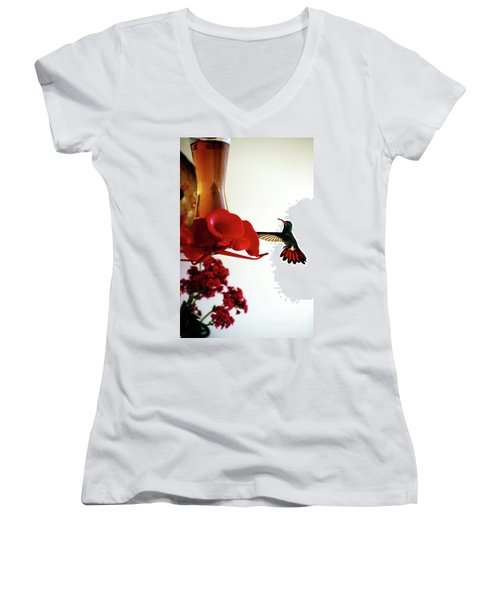 Hummingbird In Tulua, Colombia Women's V-Neck T-Shirt (Junior Cut) by Al Bourassa