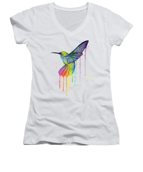 Hummingbird Of Watercolor Rainbow Women's V-Neck