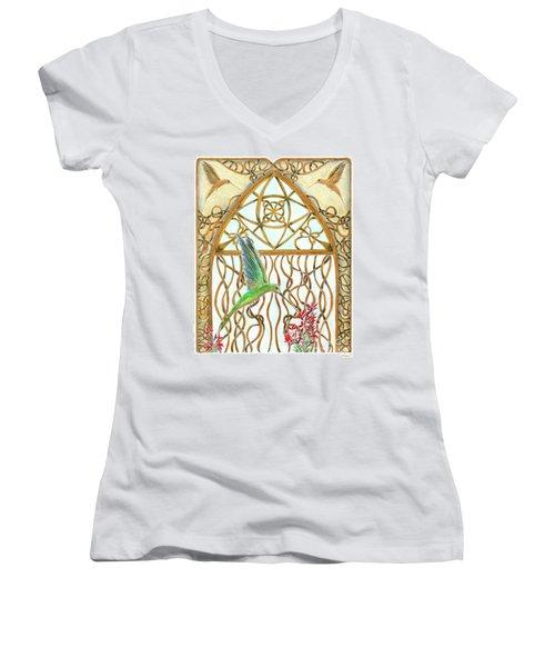 Hummingbird Sanctuary Women's V-Neck T-Shirt (Junior Cut) by Lise Winne
