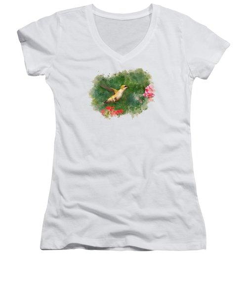 Hummingbird - Watercolor Art Women's V-Neck (Athletic Fit)
