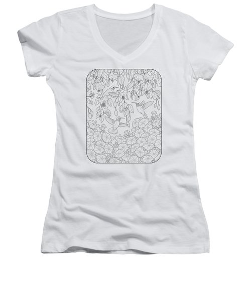 Hummingbirds And Flowers Coloring Page Women's V-Neck T-Shirt (Junior Cut) by Crista Forest