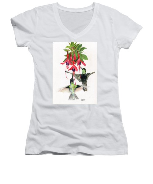 Hummingbirds And Fuchsia Women's V-Neck (Athletic Fit)