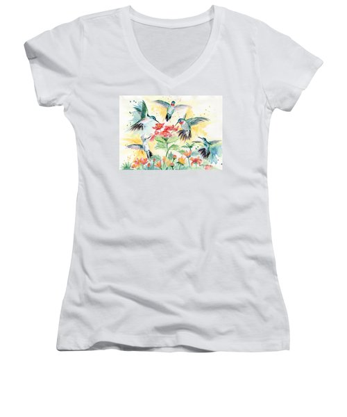 Hummingbirds Party Women's V-Neck T-Shirt