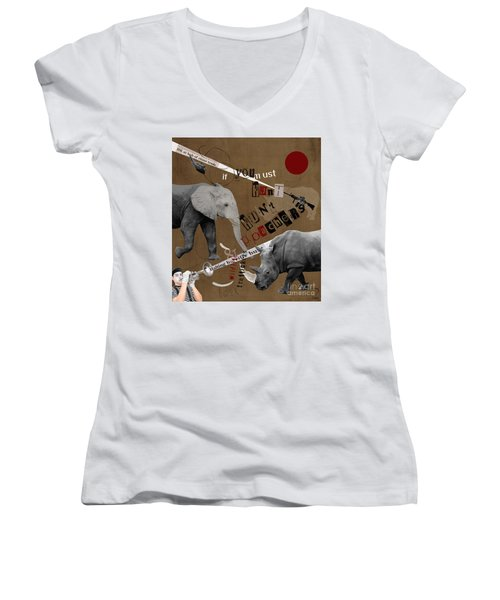 Women's V-Neck T-Shirt (Junior Cut) featuring the digital art Hunt Wildlife Poachers by Nola Lee Kelsey