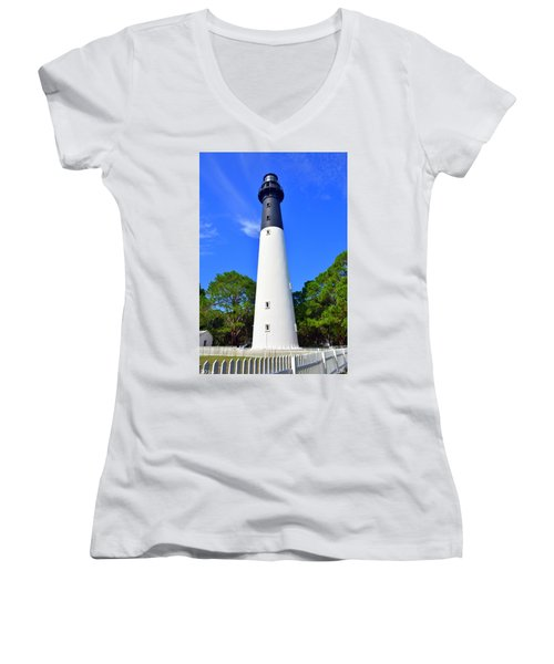 Hunting Island Lighthouse Beaufort Sc Women's V-Neck (Athletic Fit)
