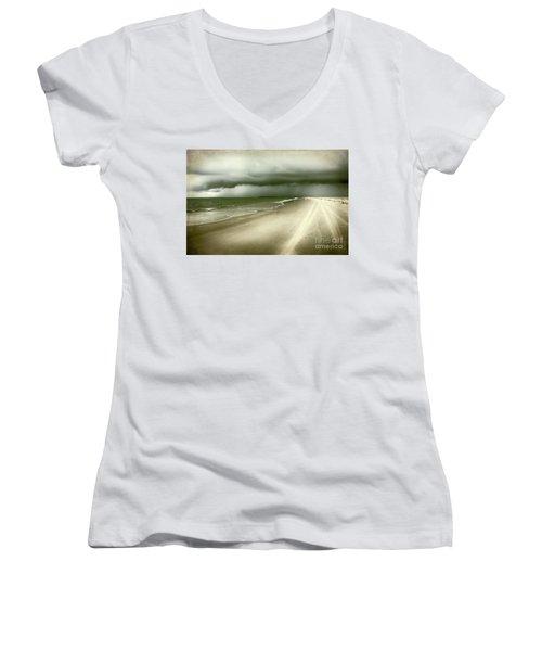 Hurricane Storm Ocracoke Island Outer Banks Women's V-Neck T-Shirt (Junior Cut) by Dan Carmichael