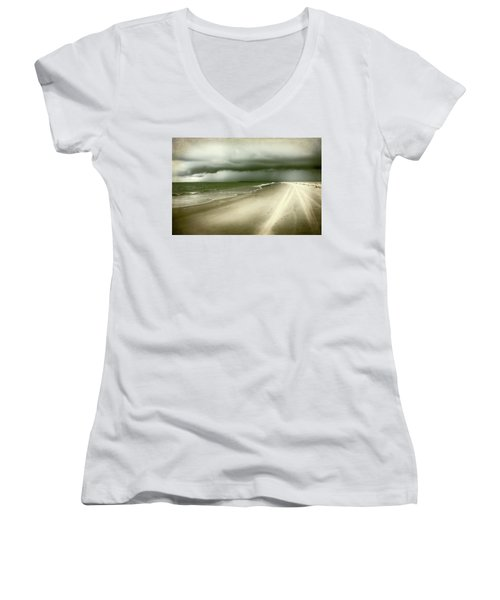 Hurricane Storm Ocracoke Island Outer Banks Women's V-Neck T-Shirt (Junior Cut)