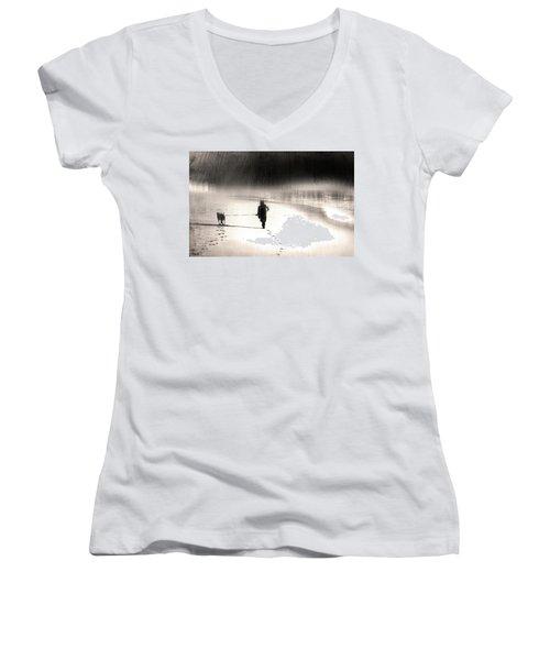 Hurry Home Women's V-Neck T-Shirt (Junior Cut) by Gray  Artus