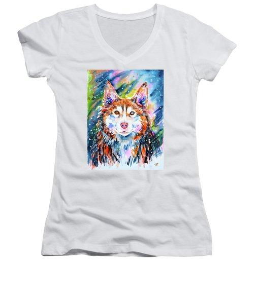 Women's V-Neck T-Shirt featuring the painting Husky by Zaira Dzhaubaeva