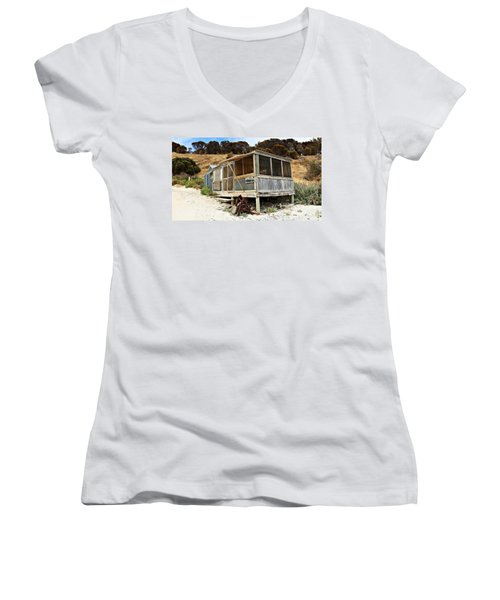 Women's V-Neck T-Shirt (Junior Cut) featuring the photograph Hut At Western River Cove by Stephen Mitchell