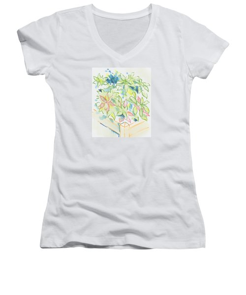 Hydrangea Plant Growing Out Of A Square Wooden Planter Women's V-Neck