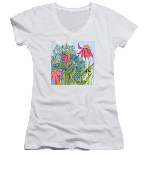 Hydrangea With Bee Women's V-Neck