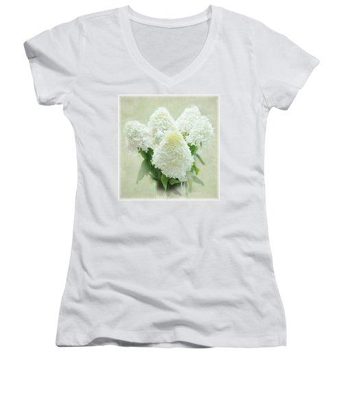 Women's V-Neck T-Shirt (Junior Cut) featuring the photograph Hydrangeas by Geraldine Alexander