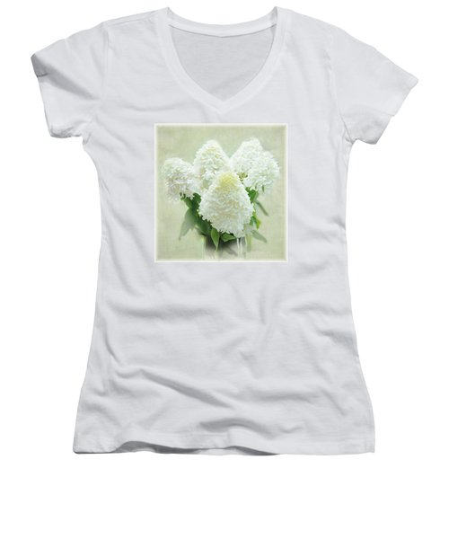Hydrangeas Women's V-Neck T-Shirt (Junior Cut) by Geraldine Alexander