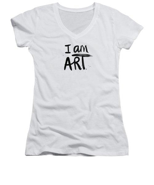 I Am Art Black Ink - Art By Linda Woods Women's V-Neck