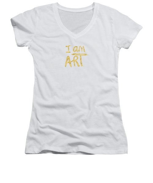 Women's V-Neck T-Shirt (Junior Cut) featuring the painting I Am Art Gold - Art By Linda Woods by Linda Woods