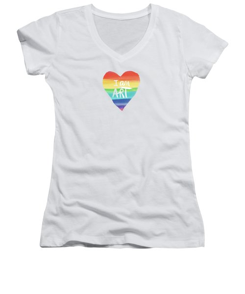 I Am Art Rainbow Heart- Art By Linda Woods Women's V-Neck