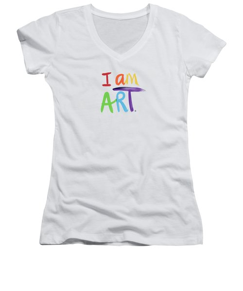 I Am Art Rainbow Script- Art By Linda Woods Women's V-Neck (Athletic Fit)