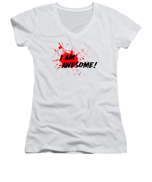 I Am Awesome - Light Background Version Women's V-Neck T-Shirt (Junior Cut) by Menega Sabidussi