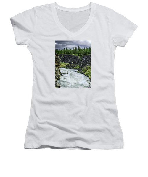 Women's V-Neck T-Shirt (Junior Cut) featuring the photograph I Am River Hear Me Roar by Nancy Marie Ricketts