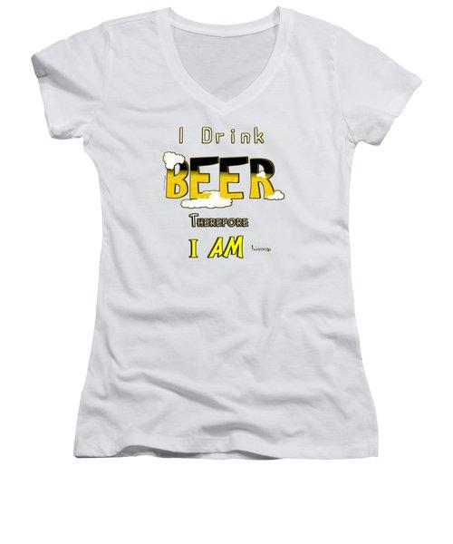 I Drink Beer Women's V-Neck T-Shirt (Junior Cut)
