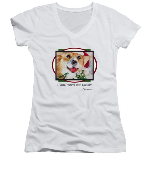 I Herd You've Been Naughty Women's V-Neck T-Shirt