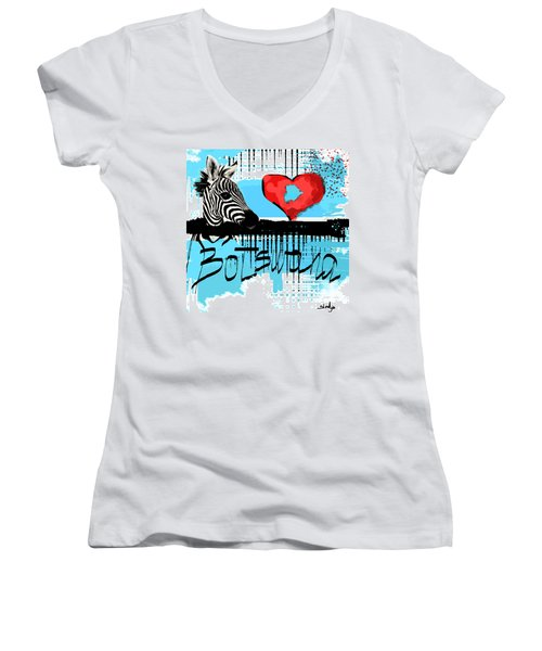I Love Botswana  Women's V-Neck T-Shirt (Junior Cut) by Sladjana Lazarevic