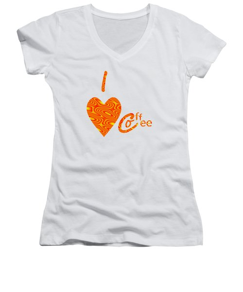 I Love Coffee Peach And Yellow Women's V-Neck T-Shirt (Junior Cut) by Kathleen Sartoris