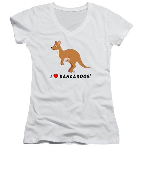 I Love Kangaroos Women's V-Neck T-Shirt (Junior Cut) by A