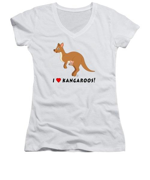 I Love Kangaroos Women's V-Neck T-Shirt